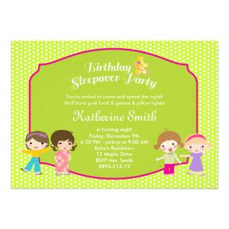 Sleepover Birthday Bright Green Party Invite