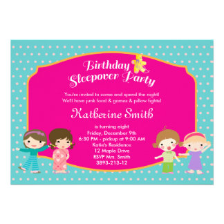 Sleepover Birthday Party Invitation