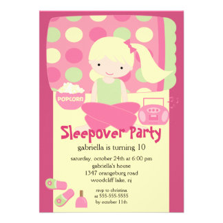 Sleepover Birthday Party Custom Invites