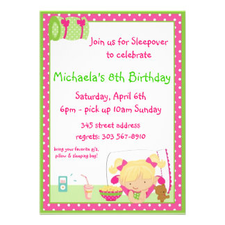 Sleepover Blonde Personalized Invite