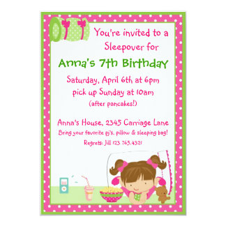 "Sleepover Brunett 5"" X 7"" Invitation Card"