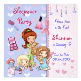"Sleepover Friends Slumber Birthday Party 5.25"" Square Invitation Card"