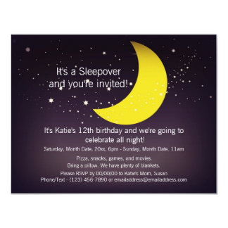 "Sleepover Moon and Stars 4.25"" X 5.5"" Invitation Card"