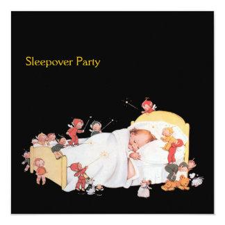 """Sleepover Party Art deco Invitation 5.25"""" Square Invitation Card"""