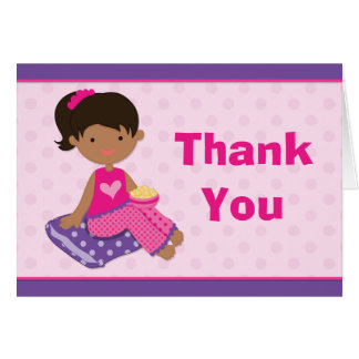 Sleepover Party Thank You African American Girl Card