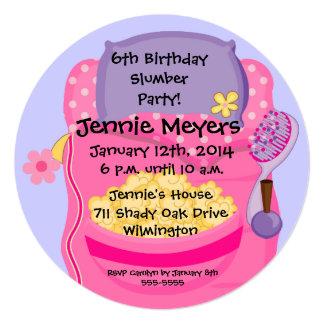 Sleepover Slumber Party Round Birthday Invitation