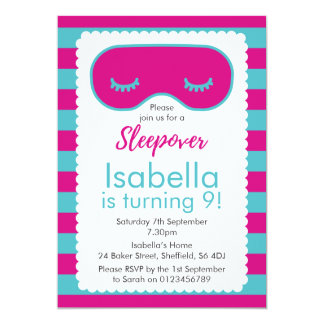 Sleepover themed birthday party invitation