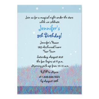 Sleepover Under the Stars Birthday Party - Blue Card