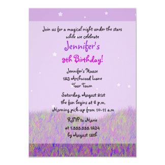 "Sleepover Under the Stars Birthday Party - Purple 4.5"" X 6.25"" Invitation Card"