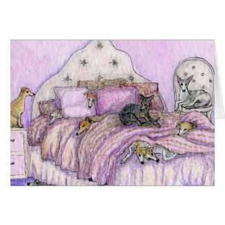 Sleepover - whippets and greyhounds galore! greeting card
