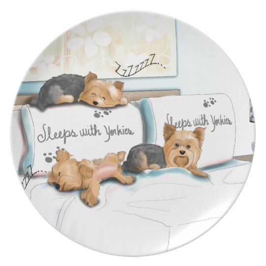 Sleeps with Yorkies by Catia Cho Plate