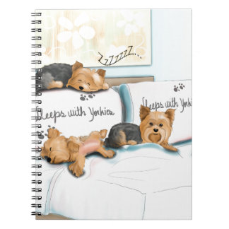 Sleeps with Yorkies by Catia Cho Spiral Notebook