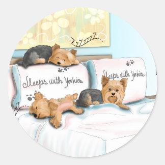 Sleeps with Yorkies Classic Round Sticker