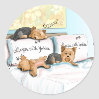 Sleeps with Yorkies Round Sticker