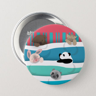Sleepy Baby Animals 3 Inch Round Button