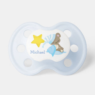 Sleepy Baby Bear Blue Personalized Pacifier