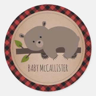 Sleepy Baby Bear Cub Plaid Baby Shower Classic Round Sticker