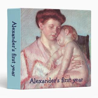 Sleepy Baby by Mary Cassatt, Vintage Impressionism 3 Ring Binder