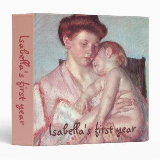 Sleepy Baby by Mary Cassatt, Vintage Impressionism Vinyl Binder