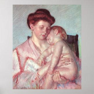 Sleepy Baby by Mary Cassatt, Vintage Impressionism Poster