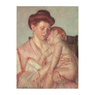 Sleepy Baby by Mary Cassatt, Vintage Impressionism Wood Canvas