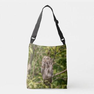 Sleepy Barred Owl Crossbody Bag