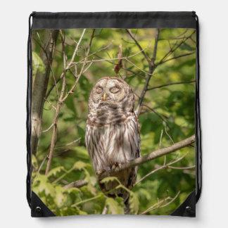 Sleepy Barred Owl Drawstring Bag