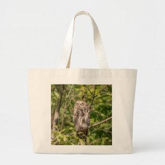 Sleepy Barred Owl Large Tote Bag