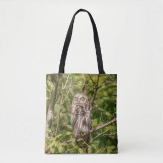 Sleepy Barred Owl Tote Bag