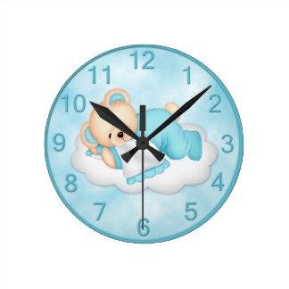 Sleepy Bear Blue Wall Clock