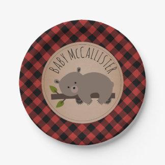 Sleepy Bear Cub Lumberjack Plaid Baby Shower Paper Plate