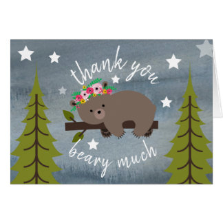 Sleepy Bear Floral Thank You Stars Watercolor Card