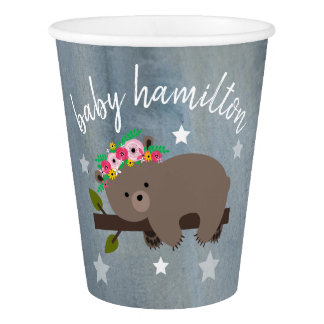 Sleepy Bear Stars Floral Watercolor Baby Shower Paper Cup