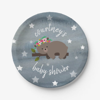 Sleepy Bear Stars floral Watercolor Baby Shower Paper Plate