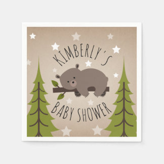 Sleepy Bear Stars + Trees Baby Shower Paper Napkin
