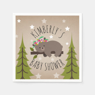 Sleepy Bear Stars + Trees Floral Baby Shower Disposable Napkins