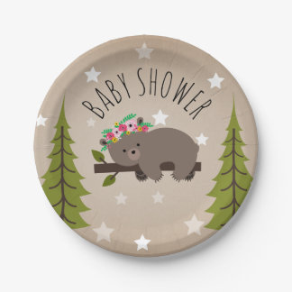 Sleepy Bear Stars + Trees floral Baby Shower Paper Plate