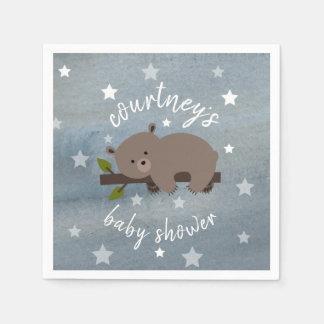 Sleepy Bear Stars + Watercolor  Baby Shower Paper Napkin