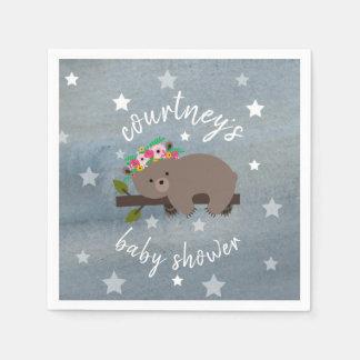 Sleepy Bear Stars + Watercolor Floral Baby Shower Paper Napkins