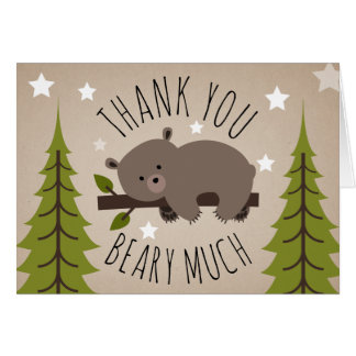Sleepy Bear Thank You Stars Card