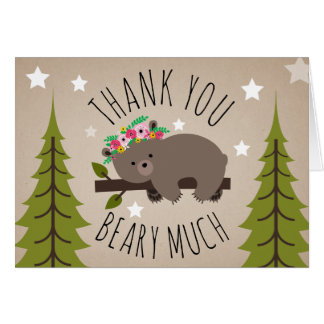Sleepy Boho Bear Thank You Stars Card