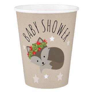 Sleepy Boho Fox Desert Stars Baby Shower Paper Cup