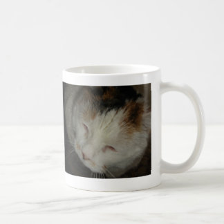 Sleepy Calico Cat Coffee Mug