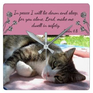 Sleepy Cat Bible Verse Wall Clock