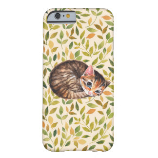 Sleepy cat, floral background barely there iPhone 6 case