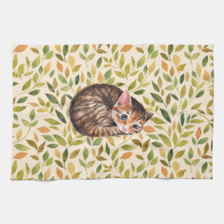Sleepy cat, floral background hand towels