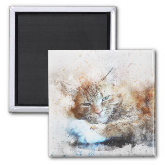 Sleepy Cat Girl | Abstract | Watercolor Magnet