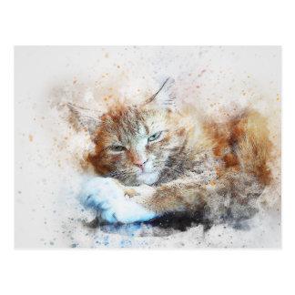 Sleepy Cat Girl | Abstract | Watercolor Postcard