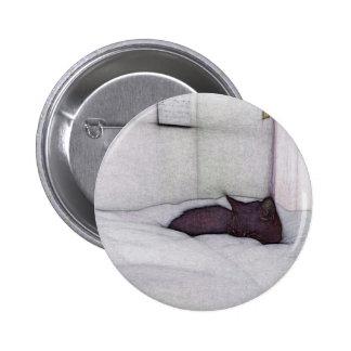 Sleepy cat sketch 2 inch round button