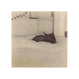 Sleepy Cat sketch Wood Print